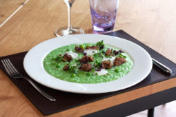 Risotto with broad beans, peas, roasted sweetbreads, goat cheese