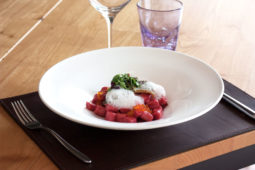 Gnocchetti made of beetroot, roasted trout fillet and its caviar, foam of buffalo's milk burrata